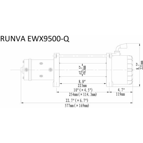 Runva EWX9500-Q 12V with Synthetic Rope