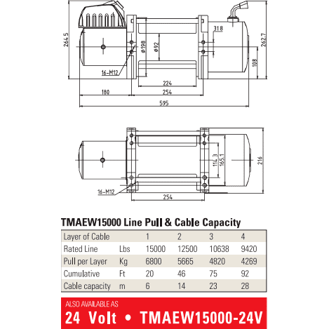 Tmax tmaew15000 Steel wire winch 12V on