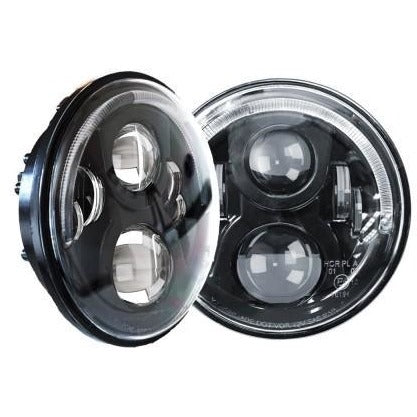 Image of PAIR 7INCH LED HEADLIGHTS HALO 60W 40W SIGNAL DRL FOR 97-16 JEEP WRANGLER JK
