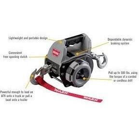 Image of Warn drill powered portable winch 9m wire rope, 910500 - Winchworld