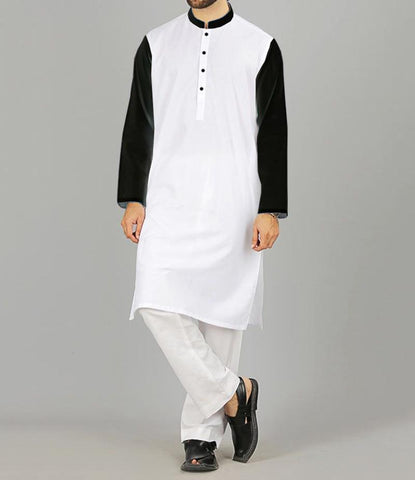 Stylish Contrast Sleeves Kurta
