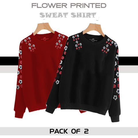 PACK OF 2 FLOWER PRINTED SWEAT SHIRTS