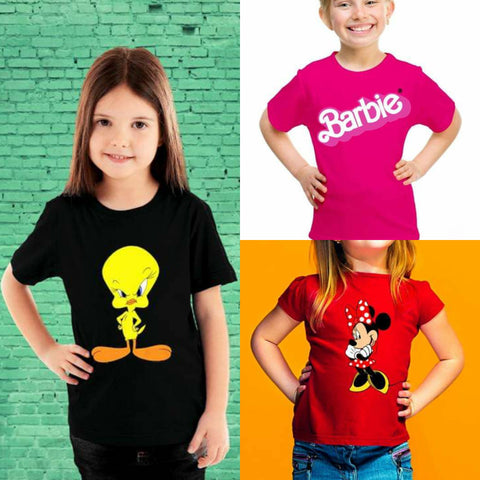 Pack of 3 Printed Half Sleeve T Shirts for Kids