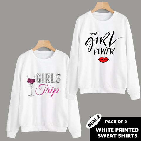 PACK OF 2 WHITE PRINTED SWEAT SHIRTS ( DEAL 2 )