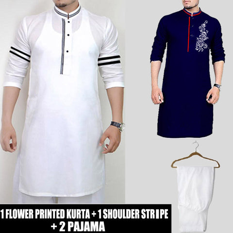 1 FLOWER PRINTED KURTA 1 SHOULDER STRIPED KURTA + ( 2 PAJAMA )