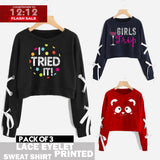 12-12 SALE: PACK OF 3 LACE EYELET PRINTED SWEAT SHIRTS ( DEAL 1 )