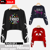 PACK OF 3 LACE EYELET PRINTED SWEAT SHIRTS ( DEAL 1 )