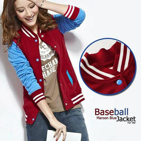 FEMALE BASEBALL MAROON BLUE JACKET