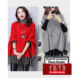 12-12 SALE:  PACK OF 2 CONTRAST WINTER FLEECE PONCHO