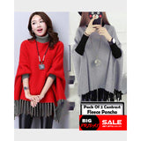 PACK OF 2 CONTRAST WINTER FLEECE PONCHO