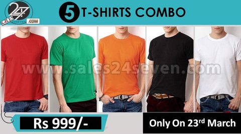 Pack of 5 Round Neck Plain T-Shirts for Men