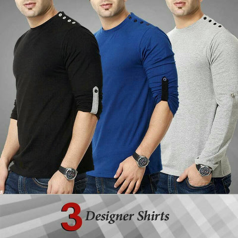Pack of 3 Shoulder Button Tshirts