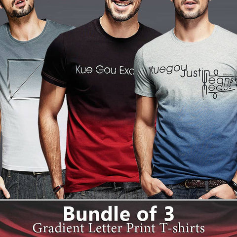 Pack of 3 Gradient Letter Printed T-shirts