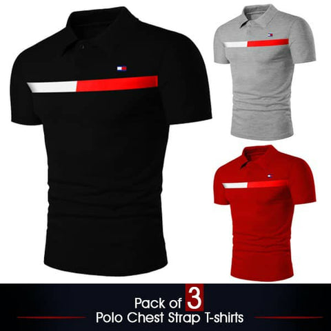 Pack of 3 Polo Chest Strap T-Shirts