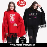 11-ELEVEN SALE: Pack of 2 Printed Poncho (Select any 2)