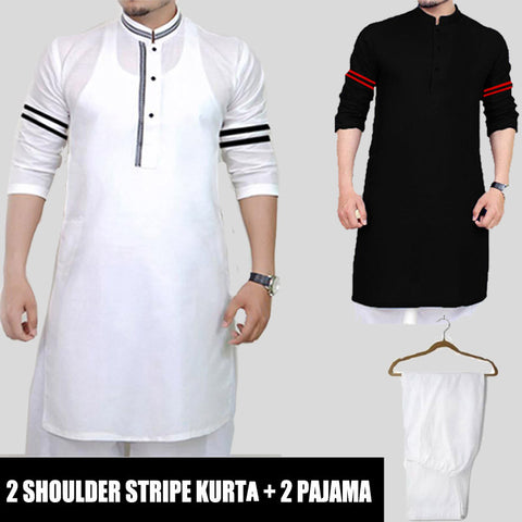 2 SHOULDER STRIPED KURTA + ( 2 PAJAMA )