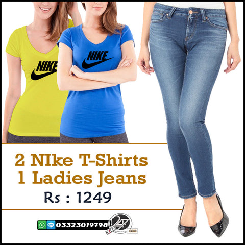 2 Nike T-Shirts & 1 Denim Female Jeans