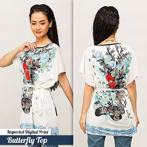 Imported Digital Print Butterfly Top  (Design-2)
