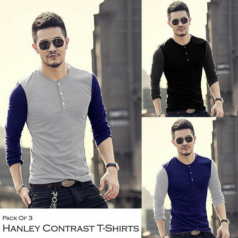 Pack of 3 HENLEY Contrast T-Shirts