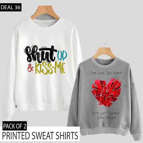 PACK OF 2 PRINTED SWEAT SHIRTS (DEAL 36)