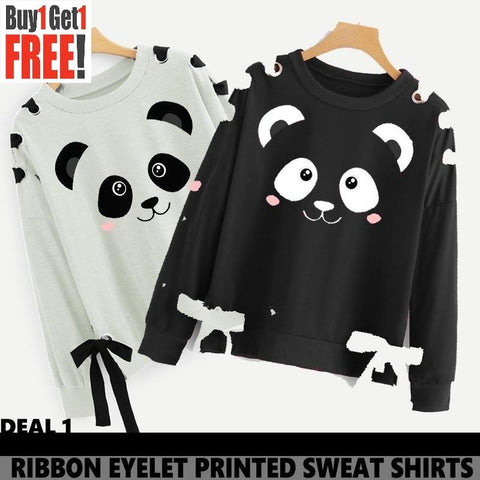 Buy 1 Get 1 Free Bear Printed Ribbon Eyelet Sweat Shirts ( DEAL 2 )