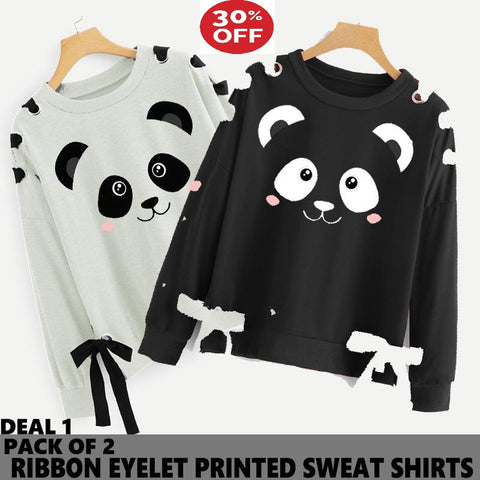 11-11 SALE: PACK OF 2 RIBBON EYELET PRINTED SWEAT SHIRT ( DEAL 2 ) ( TEDDY PRINT )