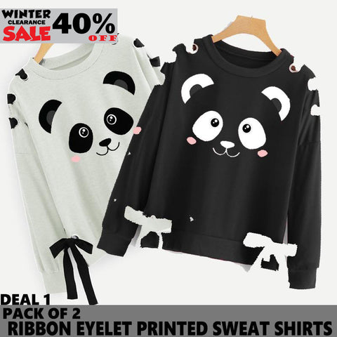 PACK OF 2 RIBBON EYELET PRINTED SWEAT SHIRT ( DEAL 2 ) ( WINTER CLEARANCE SALE )