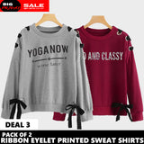 PACK OF 2 RIBBON EYELET PRINTED SWEAT SHIRT ( DEAL 3 )