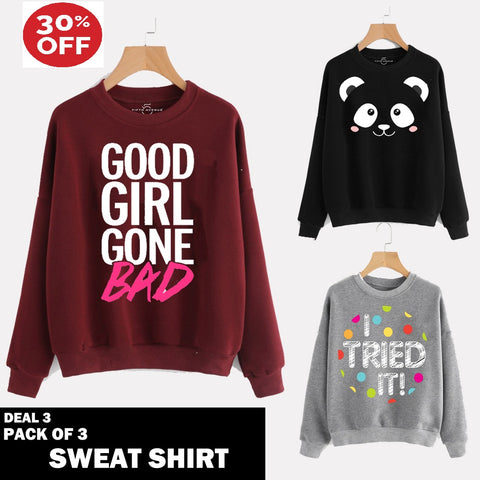11-11 SALE: PACK OF 3 SWEAT SHIRTS ( DEAL 3 )
