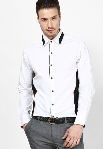 White casual shirts with black panels