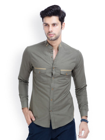 Olive green slim fit casual shirt