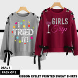 11-11 Sale PACK OF 2 RIBBON EYELET PRINTED SWEAT SHIRT ( DEAL 1 )