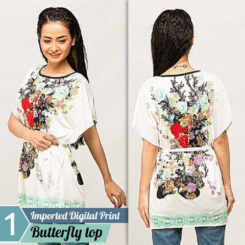 Imported Digital Print Butterfly Top  (Design-3)
