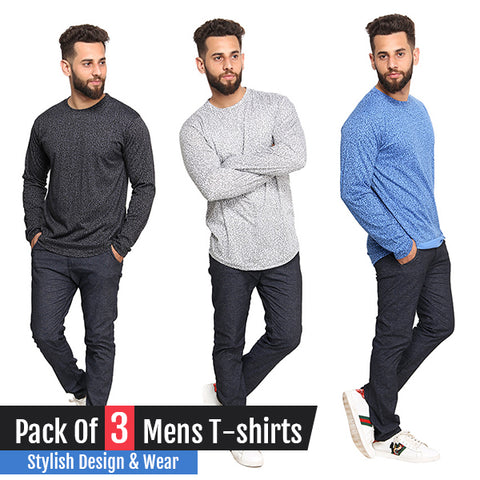 Pack of 3 Graphite Long Sleeves T-Shirts