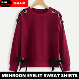 MAROON RIBBON EYELET SWEAT SHIRT