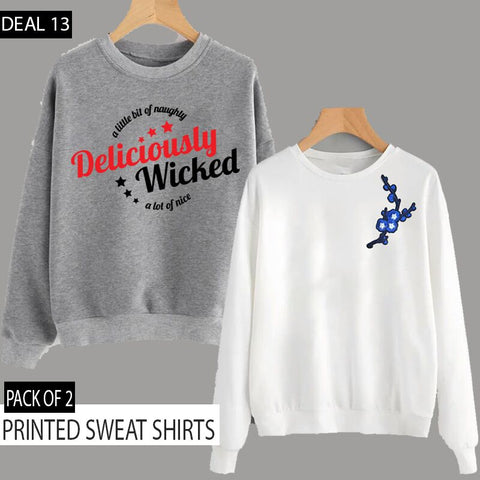 PACK OF 2 PRINTED SWEAT SHIRTS ( DEAL 13 )