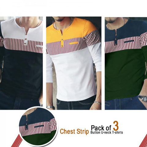 Pack of 3 Chest Stripes T shirts