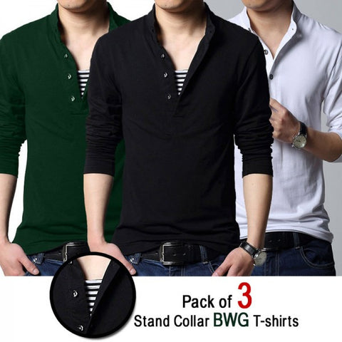Pack of 3 Stand Collar BWG T-shirts