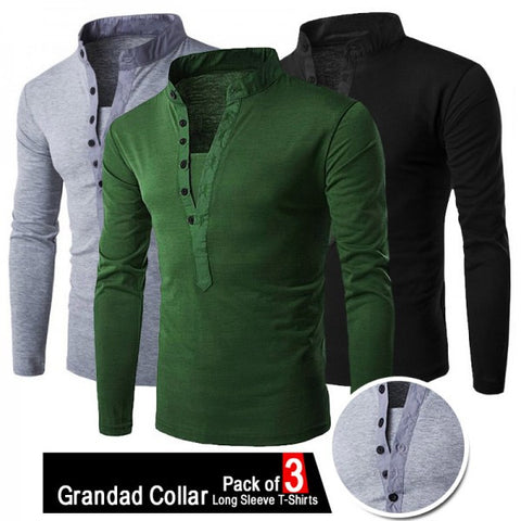 Pack of 3 Grandad Collar Long Sleeve T-shirts