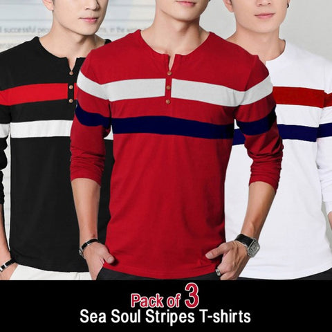 Pack of 3 Sea Soul Strip T-shirts