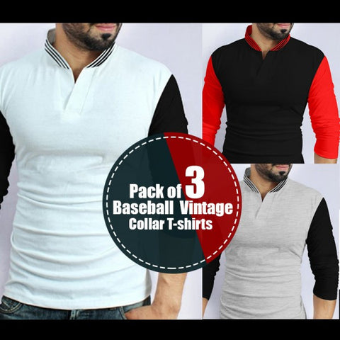Pack of 3 Baseball Vintage Collar T-shirts