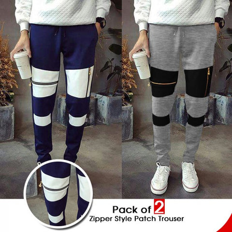Pack of 2 Zipper style Patch trousers