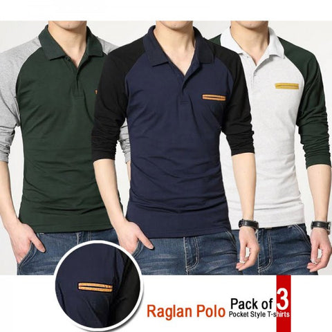 Pack of 3 Raglan Polo T shirts