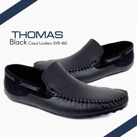 THOMAS Black Leather Casual Loafers