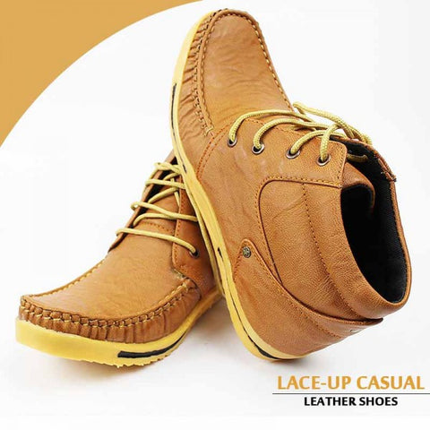 Lace Up Casual Brown Leather Shoes