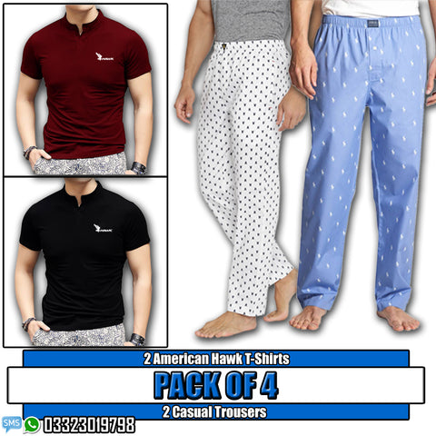 Pack of 4: 2 American Hawk Tshirts + 2 Casual trousers