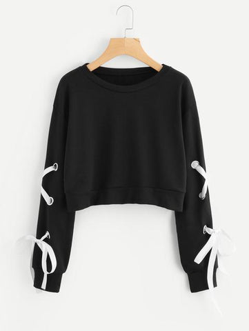 LACE EYELET CROPPED SWEAT SHIRT