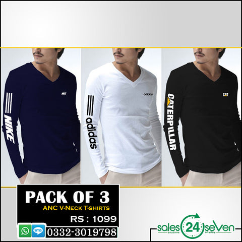 Pack of 3 ANC V-Neck Full Sleeves T-Shirts