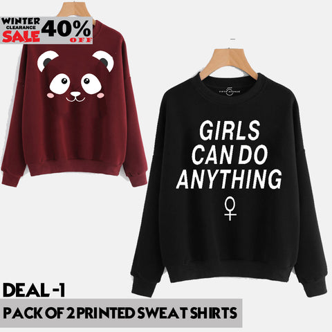 PACK OF 2 PRINTED SWEAT SHIRTS ( WINTER CLEARANCE SALE )
