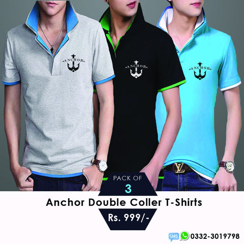 Pack of 3 Anchor double collar T shirts